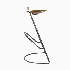 Steel & Brass Ashtray by Jacques Adnet, 1950s