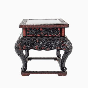 Small Antique Chinese Chiselled Table with Peony Decoration