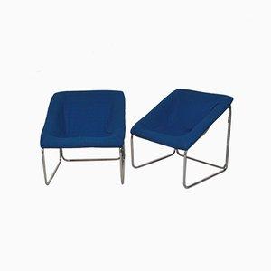 Würfelförmige Sessel in Blau, 1970er, 2er Set
