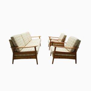 Juego de salón escandinavo de tela y madera, años 60