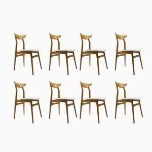 Skandinavische Esszimmerstühle aus Holz, 1960er, 8er Set