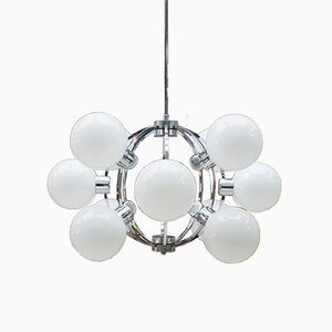 Large German Chrome Ceiling Lamp with 12 Opaline Glass Globes, 1960s