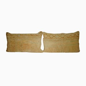 Handwoven Low Pile Oushak Rug Pillow Covers from Vintage Pillow Store Contemporary, Set of 2