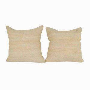 Fundas de cojín de lana orgánica tejidas a mano de Vintage Pillow Store Contemporary. Juego de 2
