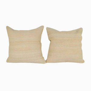 Handwoven Organic Wool Throw Pillow Covers from Vintage Pillow Store Contemporary, Set of 2