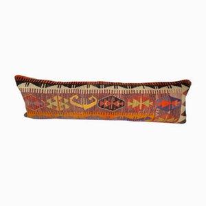 Funda de cojín lumbar bohemia de kilim con motivos geométricos Kilim de Vintage Pillow Store Contemporary