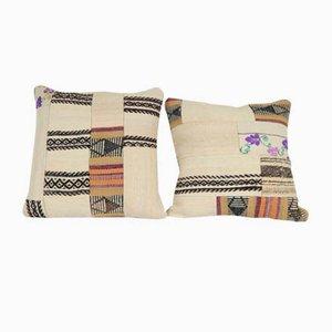 Fundas de cojín turcas grandes de retales de kilim tejidas a mano de Vintage Pillow Store Contemporary. Juego de 2