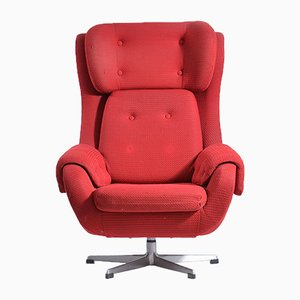Czechoslovakian Brussel Era Red Swivel Wing Chair, 1960s