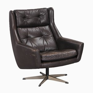 Vintage Leather Lounge Chair with Steel 5-Star Base, 1970s