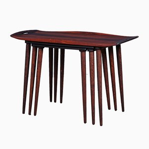Tavolini ad incastro nr. 8 in palissandro di A. Jakobsen per Poul Jeppesens Møbelfabrik, Danimarca, anni '60