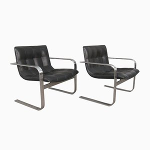 Modernist Leather & Steel Armchairs, 1970s, Set of 2