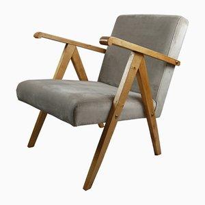 Vintage Beige Velvet Armchair, 1970s