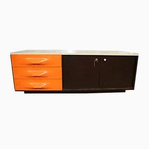 TV Sideboard in Orange & Braun von Raymond Loewy für Doubinsky Frères, 1960er