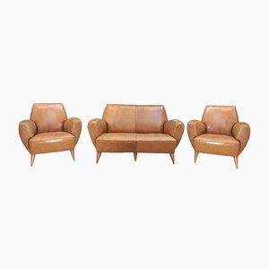 Mid-Century Leather Armchairs and Bench from Erton, 1950s, Set of 3