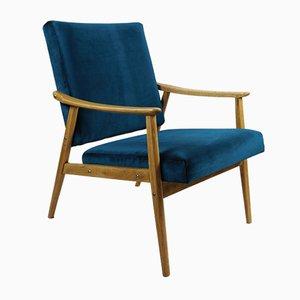 Vintage Oak Green Marine Velvet Armchair, 1970s