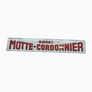 Cartel de Motte Cordonnier francés vintage esmaltado, años 20