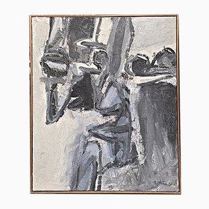 Pintura al óleo Chevalets de Albert Bitran, 1961