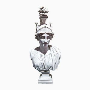 Goddess Roma Marble Bust by Arts and Commerce for P. Byatiste, 1980s