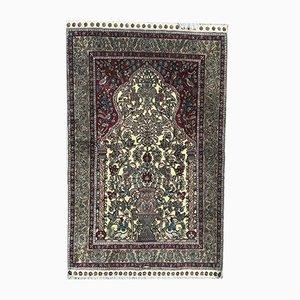 Vintage Turkish Silk and Velvet Rug, 1980s
