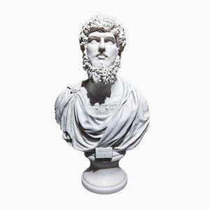 Roman Emperor Lucius Verus Marble Bust by A. Brusci for Arts and Commerce Promoted, 1980s