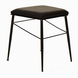 Black Italian Mid-Century Metal and Leather Stools, 1950s, Set of 2