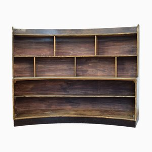 Libreria curva Art Déco in legno di pino, Italia, anni '30