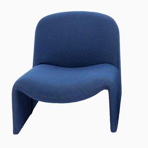Italienischer Vintage Alky Sessel mit blauem Wollbezug von Giancarlo Piretti für Castelli, 1970er