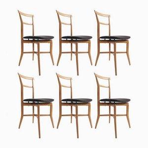 Esszimmerstühle von Ico Parisi für La Permanente Mobili Cantù, 1950er, 6er Set