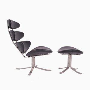 Chaise et Ottomane Modèle EJ5 Corona par Poul M Volther pour Erik Jorgensen, 1960s