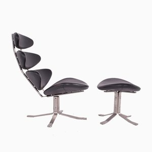 Model EJ5 Corona Chair & Ottoman Set by Poul M Volther for Erik Jorgensen, 1960s