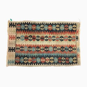 Blue, Red, and Cream Turkish Kilim Rug, 1940s