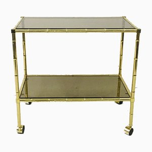 Vintage Hollywood Regency Italian Brass & Faux Bamboo Trolley