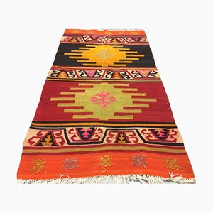 Red, Orange, Black and Pink Turkish Kilim Rug, 1960s