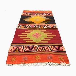 Türkischer Kelim Teppich in Rot, Orange, Schwarz und Rosa, 1960er