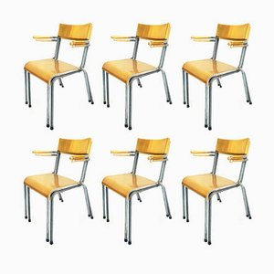 Stackable Yellow Aluminum Outdoor Chairs from Embru, 1950s, Set of 12