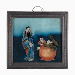 19th Century Chinese Framed Sage & Child Wall Hanging