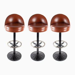 Vintage Steel, Cast Iron and Leather Bar Stools, 1920s, Set of 3