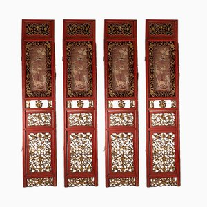 Antique 4-Panel Red and Gold Carved Room Divider