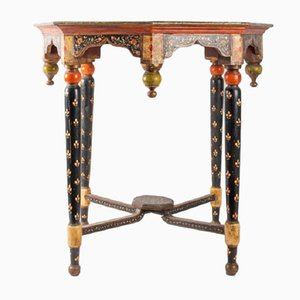 Antique Indian Octagonal Polychrome Wood Table, 1900s