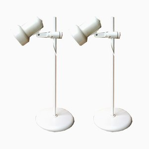 White Model 3239/01 Studio Lamps from Hustadt Leuchten, 1970s, Set of 2