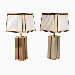 Brushed and Gilded Steel Table Lamps, 1960s, Set of 2