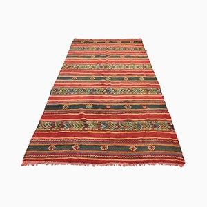 Großer anatolischer rot-schwarzer Kelim Teppich, 1950er