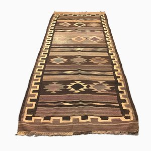 Large Vintage Turkish Brown Kilim Rug, 1950s