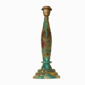 Vintage Polychrome Table Lamp with Resin Inclusions, 1970s