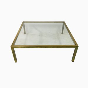 Large Vintage Brass Coffee Table, 1970s