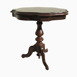 Inlaid Rosewood Side Table with Tripod Pedestal, 1980s