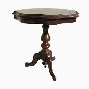 Mesa auxiliar con pedestal trípode de palisandro con incrustaciones, años 80