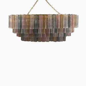 Italian Oval Colored Glass Chandelier from Venini, 1980s