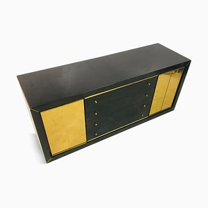 Italian Black Lacquer and Brass Sideboard, 1970s