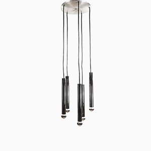 Tubular Chrome Cascade 5-Light Pendant from Doria Leuchten, 1970s